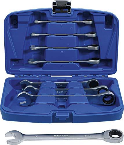 BGS 6540 | Ratschenring-Maulschlüssel-Satz | 8-tlg. | SW 8 - 19 mm | Ratschenschlüssel feinverzahnt, CV-Stahl