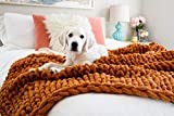 Kaffrey Luxury Chenille Chunky Knit Blanket - Brown Hazelnut, 50'x60' - Machine Washable, No Shed Soft Hand-Knitted Large Cozy Thick Yarn Throw - Home, Bedroom Decor Gift for Her