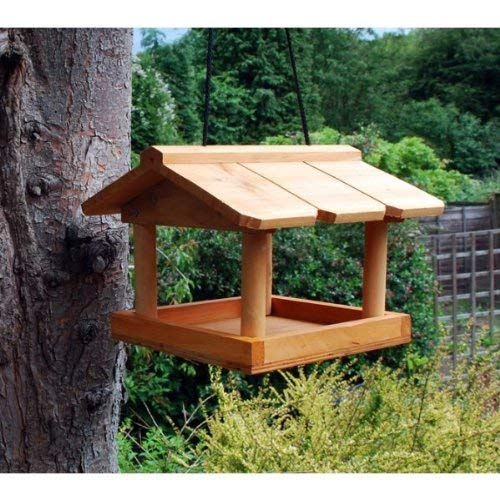 Hanging Wildbird Table Feeder. Wild Bird Wooden Seed Feeding Station. Fat Balls.