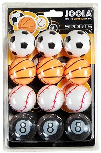 JOOLA Tischtennisbälle Sports Set im Sportdesign 40 MM 3-Stern Trainingsqualität - Gleichmäßiger Ballabsprung, Bunt,