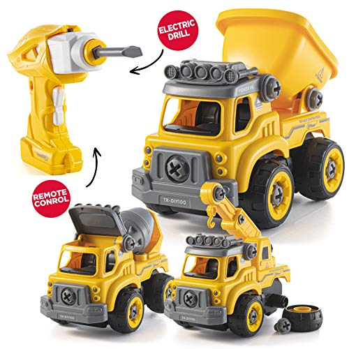 Image of the Take Apart Toys with Electric Drill | Converts to Remote Control Car | 3 in one Construction Truck Take Apart Toy for Boys | Gift Toys for Boys 3,4,5,6,7 Year Olds | Kids Stem Building Toy