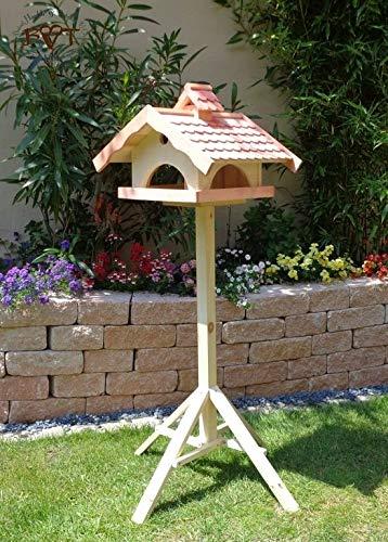 Vogelhaus,groß,mit Ständer,BEL-X-VONI5-LOTUS-LEFA-MS-rot002 Robustes, stabiles wetterfestes PREMIUM Vogelhaus mit wasserabweisender LOTUS-BESCHICHTUNG VOGELFUTTERHAUS + Nistkasten 100% KOMBI MIT NISTHILFE für Vögel KOMPLETT mit Ständer wetterfest lasiert, FUTTERHAUS für Vögel, WINTERFEST - MIT FUTTERSCHACHT Futtervorrat, Vogelfutter-Station Farbe Rot lachsrot behandelt , weinrot hellrot knallrot, MIT TIEFEM WETTERSCHUTZ-DACH für trockenes Futter, Schreinerarbeit aus Vollholz