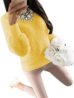 Macondoo Women's Long Sleeve Fuzzy Pullover Jumper Slim Fit Warm Sweater