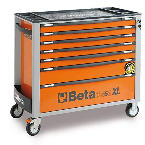 BETA C24SA-XL/7 Werkzeugwagen mit Sieben Schubladen, leerer Werkstattwagen mit Anti-Kipp-System (Werkzeugkasten in Langer Ausführung auf Vier Rollen, Arbeitsplatte aus ABS), Orange