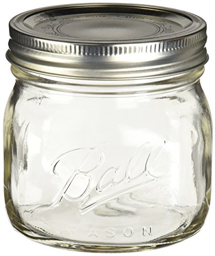 Ball Collection Elite Pint Mason Jar with Lids and Bands 4PK Wide Mouth, Clear
