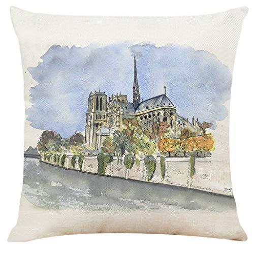 Nouveau! Mamum Paris sacre bâtiment taie d'oreiller décor à la Maison Housse de Coussin canapé Couvre Couvre Oreiller 45 x 45 cm (I)