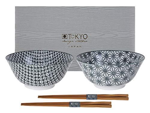 TOKYO design studio Nippon Black Set di 2 Ciotole, Ø 15 cm, ca. 500 ml, Porcellana Giapponese con Motivi Geometrici, incl. 2 Paia di Bacchette e Confezione Regalo
