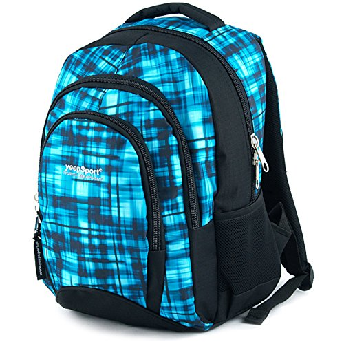 YeepSport Schulrucksack für Schule, Rucksack für Arbeit und Freizeit 30l, Jugendliche Mädchen und Jungs - 21811 Blue Matrix