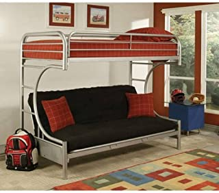 Eclipse 02091W-BK Twin Over Full Futon Bunk Bed Includes Guard Rails, ASTM & CPSC Specifications, Silver Color