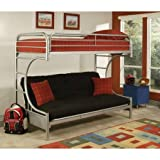 Eshion Eclipse Multi-functional Twin Over Full Futon Bunk Bed, Multiple Colors (Silver)