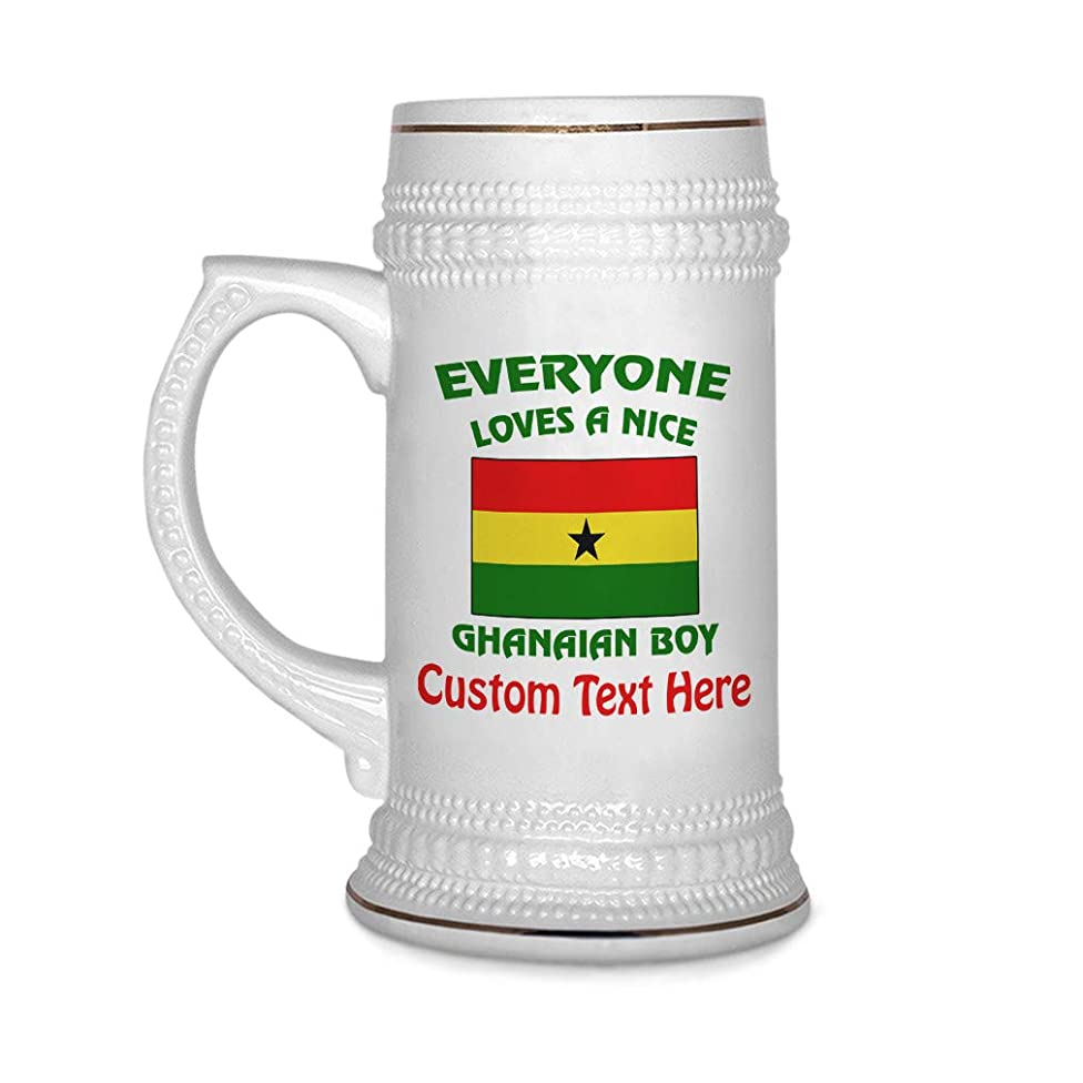 Custom Beer Mug Everyone Loves A Nice Ghanaian Boy Ghana Ceramic Drinking Glasses Beer Gifts White 18 OZ Personalized Text Here