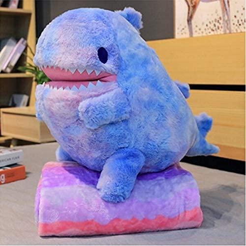 XINQ 60cm Kawaii Rainbow Dinosaurier Plüschspielzeug Schöne Stofftier Kissen Bett Kissen Weiche Decke Home Decor Mädchen Kreatives Geschenk grün (Color : Blue)