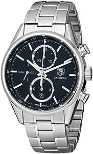 TAG Heuer Men's CAR2110.BA0720 Carrera Black Dial Chronograph Steel Watch image