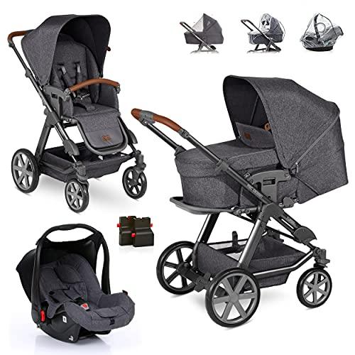 ABC Design Turbo 4 Kinderwagen Set 3in1 - Kombikinderwagen mit Babyschale, Sportwagen und XXL Zubehör - Autositz Hazel (ab Geburt / 0-13 kg) - Street Grau