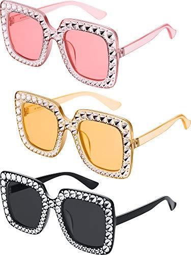 Übergroße Quadrat Funkelnde Sonnenbrille Retro Dick Rahmen Sonnenbrille (3 Stück, Hellrosa, Schwarz, Gelbbraun)
