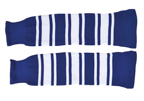 SCHANNER - Erwachsenen Hockeystutzen NHL Senior I Schienbeinschutz I Stutzen für Hockeyspieler I Eishockey-Stutzen I ideale Passform I 100% Polyester - Blau/Weiß