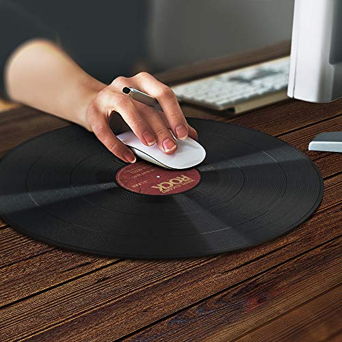 Super Size Round Mousepad, WIRESTER Large Mouse Pad for Home, Office and Gaming Desk, Vintage Vinyl Record Red Photo #6