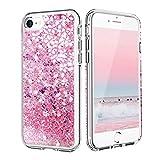 Funda para iPhone 7/iPhone 8, iPhone SE 2020 con purpurina arenas movedizas líquidas anticaída funda de silicona TPU para niñas mujeres iPhone SE 2020/6/6S/7/8 (4,7 pulgadas) (flores de cerezo rosa)