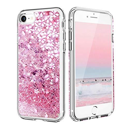 Funda para iPhone SE 2020, iPhone 7/8 Carcasa de Silicona TPU, Funda de Cristal Brillante para Arenas Movedizas, Funda Líquida Niñas Mujer para iPhone Se 2020/6/6S/7/8 (4,7') (Polvo de Flor de Cerezo)