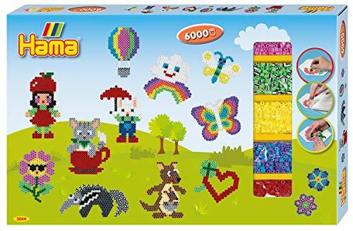 Hama Perlen 3044 Großes Geschenkset Allround mit ca. 6.000 bunten Midi Bügelperlen mit Durchmesser 5 mm, 3 Stiftplatten, inkl. Bügelpapier, kreativer Bastelspaß für Groß und Klein