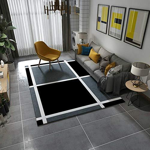 Sencilla y moderna alfombra geométrica para salón, sofá, mesa, dormitorio, tienda, juego completo adecuado para moqueta, mesita de noche doméstica – 140 cm × 200 cm