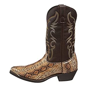 Fullwei Boots for Women,Women Vintage Cowboy Embroidery Pointed Toe Boot Western Splicing Snake Print Mid Pull-Up Cowgirl Motorcycle Riding Boot Walking Shoe (Gold, 9)