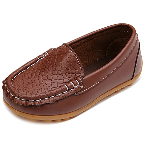 LONSOEN Toddler/Little Kid Boys Girls Soft Synthetic Leather Loafer Slip-On Boat-Dress Shoes/Sneakers,Brown,SHF103 CN27