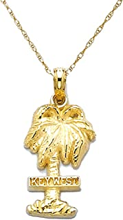 14k Yellow Gold Travel Charm Necklace Pendant with Chain, Key West On Palm Tree, 2-D
