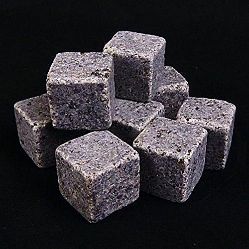 9 PC WHISKY STEINE WIEDERVERWENDBARER EISWÜRFEL aus Granit GETRÄNKE KÜHLER - WODKA WEIN WHISKEY - 4