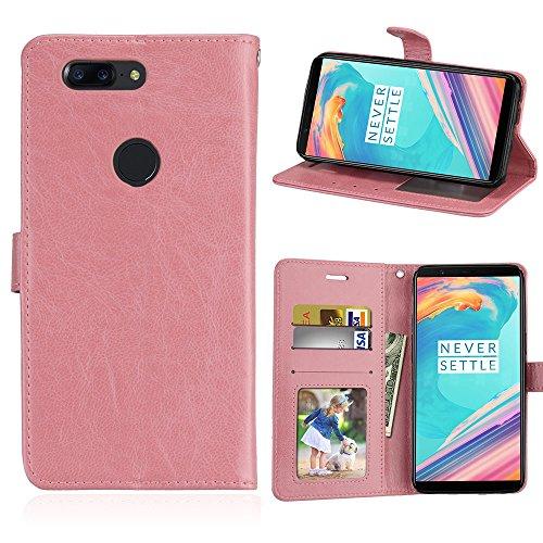Capa para OnePlus 5T one plus 5T 1+5T proteção de couro PU com 3 compartimentos para cartões capa flip (rosa)