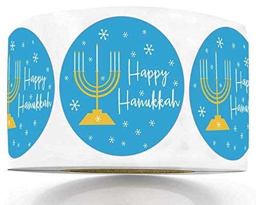 1.5 Inch Happy Hanukkah Stickers - Hanukkah Candle Roll Stickers for Hanukkah 250 Menorah Labels Hanukkah Candle Stickers (Blue, 1.5)
