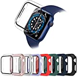 8 Pack Surundo Funda con Vidrio Templado Compatible con Apple Watch 40mm Series 6/5/4/SE, Slim Cover de Bumper y Protector Pantalla Case para iWatch Series 6/5/4/SE