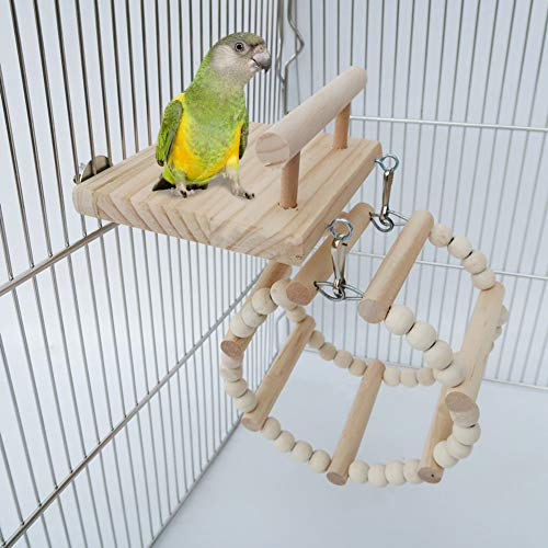Bird Perches Cage Toys,Small Animals Nest Wooden Hanging Toy,Parrot Play Gym Stands with Acrylic Wood Swing,Rattan Ball,Ferris Wheel,Pet Training Playstand for Cockatiels/Conures/Hamster/Rat/Squirrel