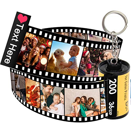 Personalized Camera Film Roll Keychain with Photo,Custom Personal Roll Keyring,Customized Pictures Gifts for Men Women