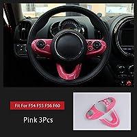 ミニクーパーワンS JCWF54クラブマンF55 F56 F60カントリーマンカースタイリングアクセサリー用ステアリングホイールケースステッカーカバー インテリアパネル (Color : ピンク)