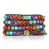 Jovivi 7 Chakra Buddha Yoga geflochtenes Armband Armschmuck OM Anhänger 6mm Perlenarmband Healing Reiki Wickelarmband