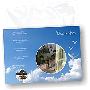 Anti-Collision Stickers to Prevent Bird Strikes on Window Glass - Set of 17 Silhouettes - Colour Translucent Frosted/Dusted:Tudosobrediabetes