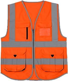 YUFENGBAIHUODIAN Vest de Moteur Hommes Femme Haute Visibilité Sécurité Gilet de Travail Gilet de Travail Sécurité Red Refl...