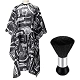 Hair Cutting Cape with Brush, Professional Salon Barber Cape, Hair Cutting Accessories With Anti-static, Lightweight,Waterproof and 1PCS Neck Duster Brush-Black Soft Brush