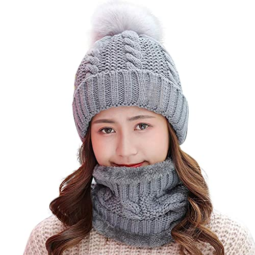 Kisbeibi Conjunto de sombrero y bufanda para mujer, gorro de invierno con forro polar (gris)
