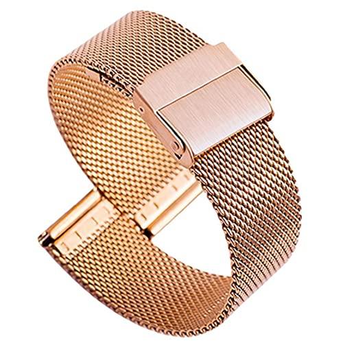 Yililay Correas de Reloj de Acero Inoxidable Reloj Milanese Banda Ultra-Delgada Pulsera de liberación rápida para Mujeres de los Hombres de 20 mm de Oro Rosa económico práctico