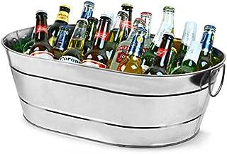 Recipiento de Acero Galvanizado Ovalado, para almacenar bebidas, rústico
