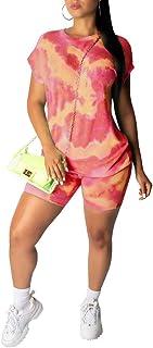 Aro Lora Womens Short Sleeve Tie Dye Print T Shirt Bodycon Pant Set Two Piece Jumpsuit Jogger Suit