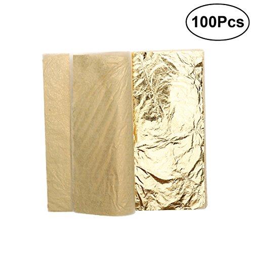 Blattgold - ROSENICE Blattsilber Schlagmetall 100 Blätter Imitation Blattgold für Kunst Handwerk Dekoration 14 * 14CM