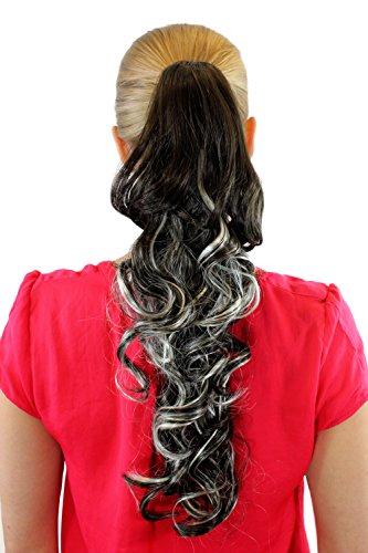Extension, postiche, mix de blond-châtain, couette/tresse, pince papillon, bouclé, env. 50 cm, XF-0053A-8H113