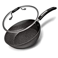 "Starfrit 9.5"" Saute Pan with Bakelite Handle and Lid, Black"