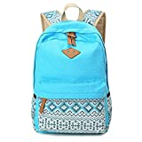 Eagsouni Vintage <span class='highlight'>Polka</span> Dot <span class='highlight'>Canvas</span> Backpacks Rucksack <span class='highlight'>School</span> <span class='highlight'>Bag</span>s Casual Daypacks <span class='highlight'>Satchel</span> for Teenage Girls Ladies Sky Blue