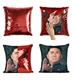 Kim Jong Un Nicolas Cage Sequin Pillow, Scales Reversible Funny Mermaid Pillow, Funny Meme Animation Pillow, Pillowcase Xmas, Birthday, Gift, Present (Cover + Insert)