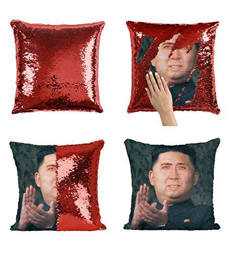 Kim Jong Un Nicolas Cage Magic Reversible Almohada Divertida, Almohada Decorativa, Divertido, (Funda de Almohada)