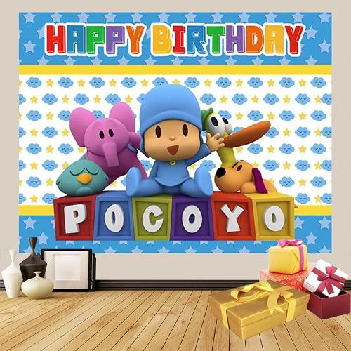 POCOYO - Globos para decoración de cumpleaños de POCOYO POCOYO con telón de fondo de papel pintado para habitación de niños, 2,1 x 1,5 m (2020137pocoyo, 2,4 x 1,8 m)